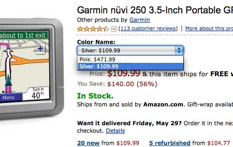 Amazon.com - Garmin Nuvi 250 - Price comparison between silver and pink versions