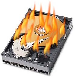 Hard Drive in Flames