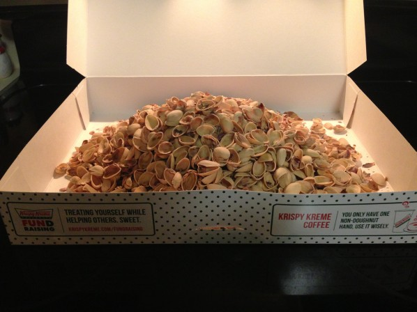 Shells from the 3-pound bag in a Krispy Kreme box.